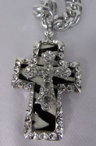 Women Silver Metal Scarf Necklace Pendant Big Double Cross Rhinestones Zebra