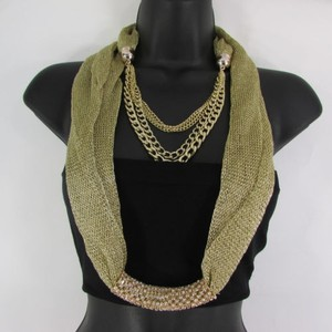 Women Gold Mesh Fabric Silver Metal Chains Fashion Scarf Necklace Rhinestone