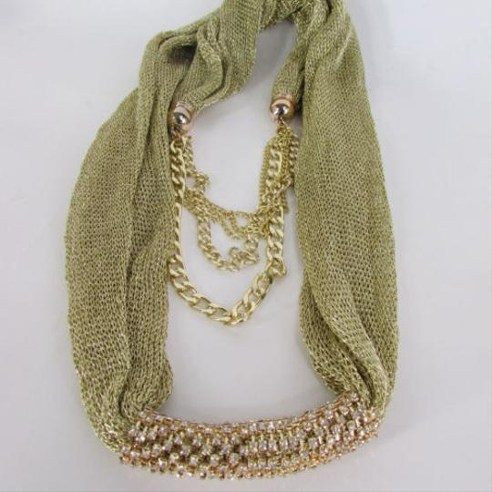 Other Women Gold Mesh Fabric Silver Metal Chains Fashion Scarf Necklace Rhinestone