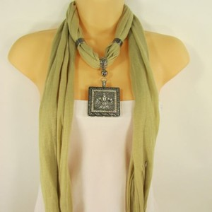 Women Scarf Mustard Green Fashion Long Necklace Fleur De Lis Pendant Lily Charm