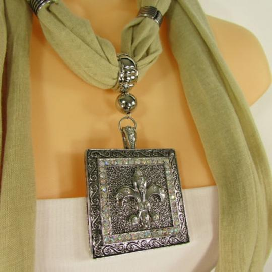 Other Women Scarf Mustard Green Necklace Fleur De Lis Pendant Lily Charm