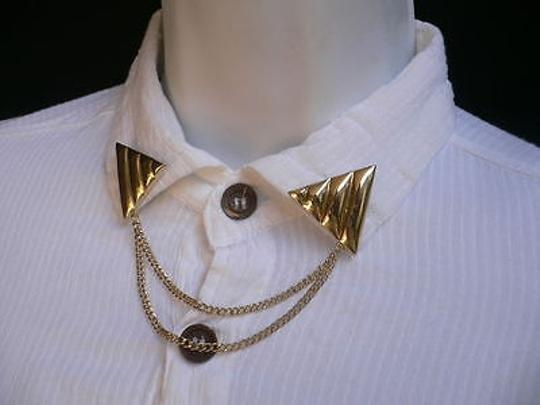 Other Women Gold Black Triangle Shirt Collar Blouse Tip Chains Rivet Pins Western