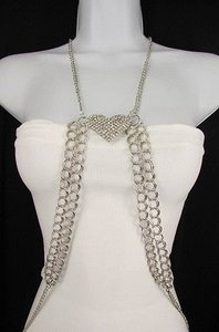 Other Women Silver Big Heart Metal Body Double Chain Necklace Jewelry
