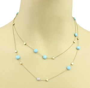 Roberto Coin 18187L - Roberto Coin Diamond & Turquoise Long Chain Necklace 35