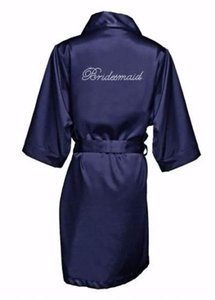 Navy Rhinestone Bridesmaid Satin Robe (s/m)
