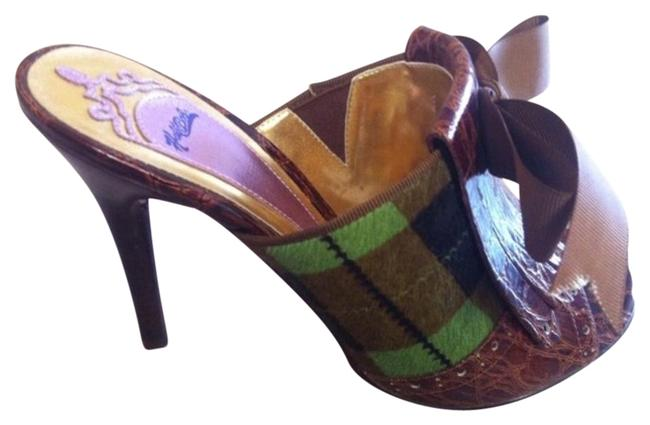 Item - Brown/Green Open Toe Grn Plaid Faux Fur Pumps Size US 6.5 Regular (M, B)