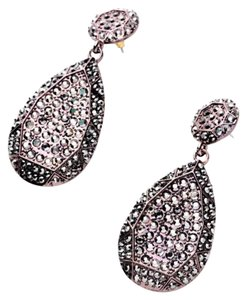 New Pave Black Crystal Teardrop Earrimgs