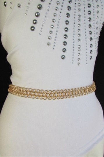 Other Women Gold Multi Metal Chains Fashion Belt Low Hip High Waist 29-40