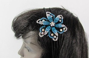 Other Women Fashion Headband Big Flower Silver Blue Pink Multicolor Rhinestones