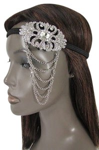 Hand made Women Elastic Band Metal Side Head Chain Fashion Jewelry Silver Rhinestones