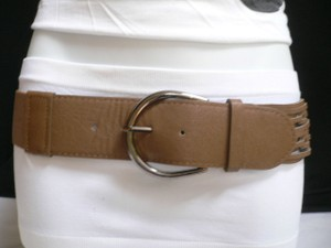 Women High Waist Hip Elastic Brown Fashion Belt Metal Ring Pewter Buckle