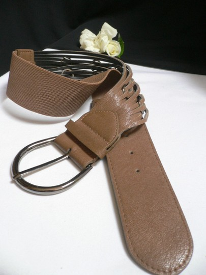 Other Women High Waist Elastic Brown Belt Metal Ring Pewter Buckle