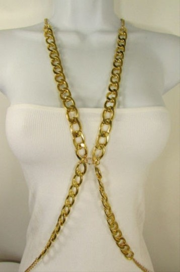Other Women Gold Thick Chunky Metal Body Chain Long Necklace Fashion Jewelry