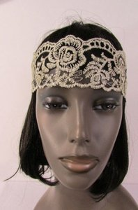 Other Women Elastic Headband Big Flowers Beige Black Lace Fabric