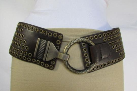 Other Women Black Brown Elastic Moroccan Fashion Belt Gold Buckle 32-38