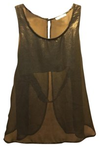 Lush Open Back Tank Sexy Top Bronze/Gold Shimmer