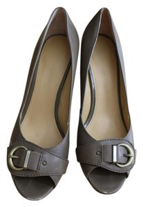 Joan & David Buckle Leather Open Toe Greyish Green Pumps