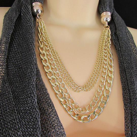 Other Women Mesh Fabric Dark Gray Metal Chains Fashion Scarf Necklace Charm Pendant
