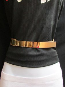 Women High Waist Gold Metal Plate Thin Fashion Belt Plus 32-45
