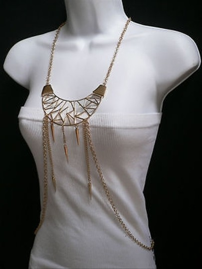 Other Women Gold Geometric Metal Body Chain Necklace Jewelry