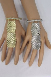 Other Women Bracelet Metal Plate Hand Chain Slave Ring Silver OR Gold