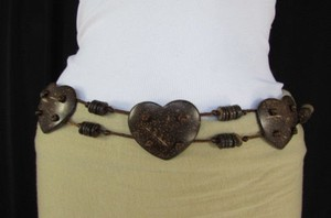 Other Women Brown Fashion Tie Belt Hip Waist Hearts Coconut Shell 31-36