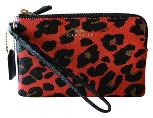 Coach Nwt Leopard Wristlet in GOLD / WATERMELON