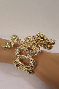Other Women Flying Dragons Cuff Bracelet Rhinestone Gold Silver