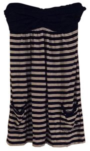 Abercrombie & Fitch short dress Navy and white Strapless Cotton Stretchy Striped on Tradesy
