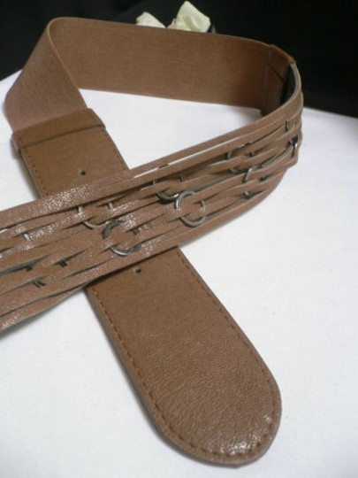 Other Women Waist Hip Elastic Brown Fashion Belt Rings Pewter Buckle