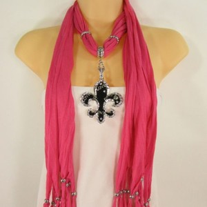 Women Scarf Pink Fashion Long Necklace Fleur De Lis Pendant Lily Flower Charm