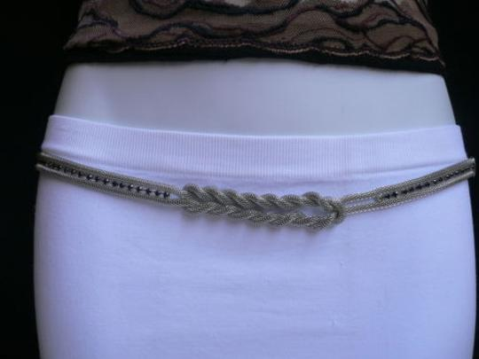 Other Women Silver Chains Fashion Belt Black Rhinestones 27-45 S-XL