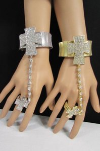 Women Rhinestones Cross Bracelet Fashion Hand Chains Slave Ring Silver Gold