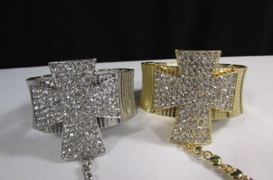 Other Women Rhinestones Cross Bracelet Slave Ring Silver OR Gold