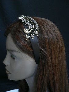 Women Black Beads Rhinestones Big Leaf Fashion Headband Hair Accessories