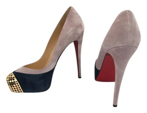 Christian Louboutin Navy, Grey/Purple, Gold Platforms
