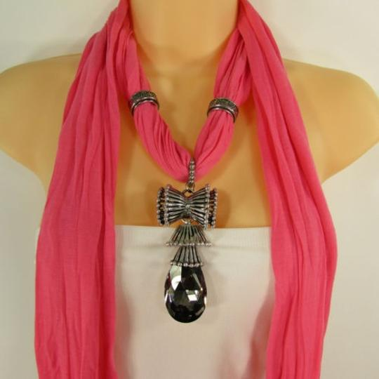 Other Women Scarf Pink Soft Fabric Fashion Long Necklace Big Glass Bow Pendant Charm