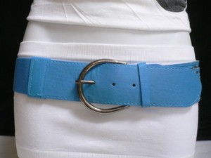 Women Waist Hip Elastic Blue Fashion Belt Rings Pewter Buckle 27-36