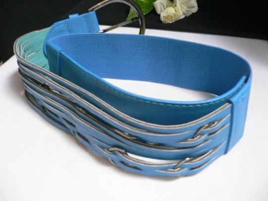 Other Women Waist Hip Elastic Blue Fashion Belt Rings Pewter Buckle 27-36