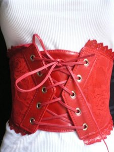 Other Women Elastic Red Wide Corset Waist Flowers Front Tie Belt