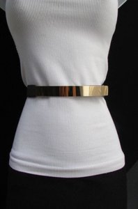 Women Fashion Gold Silver Thin Metal Plate Belt Elastic Sizes