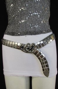 Women Thick Silver Metal Fashion Belt Big Heart Buckle Hip Waist 27-37