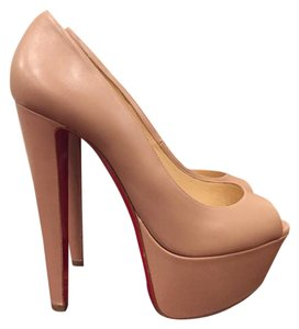 Christian Louboutin Jamie Platform Kid Leather nude Pumps