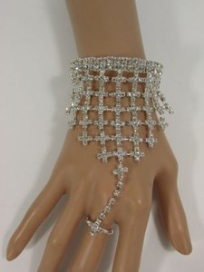 Women Silver Metal Wide Lace Crosses Bracelet Fashion Hand Chain Rhinestones