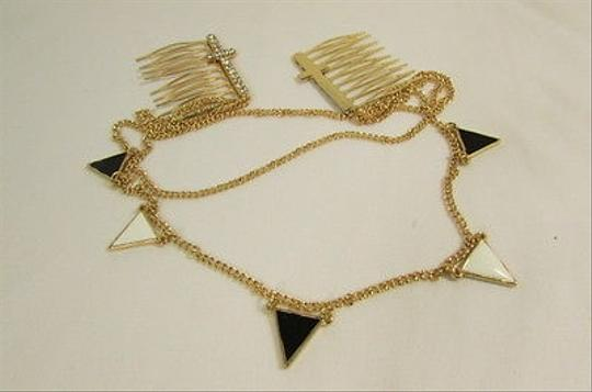 Hand made Women Gold Metal Head Chains Cross Pins Black White Triangle Fashion Jewelry