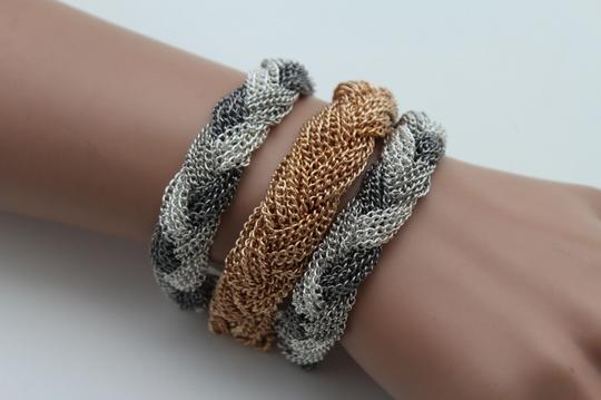 Other Women Gold Silver Braided Chain Bracelet Jewelry Tone Rows