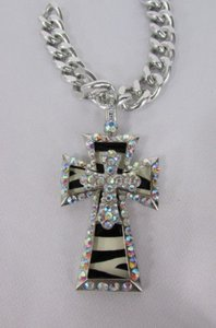 Women Silver Metal Plate Scarf Necklace Pendant Charm Big Cross Rhinestones