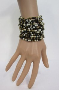 Other Women Multi Beads Fashion Bracelet Wood Buckle Blue Green White Black Pewter
