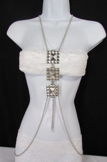 Other Women Silver Metal Body Chain Jewelry Long Necklace Big Square Pyramid