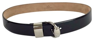 Gucci GUCCI Size Small Black Patent Silver Buckle Belt!